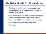 the online benefit verification letter