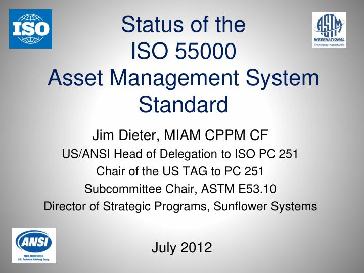 status of the iso 55000 asset management system standard n.