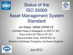 status of the iso 55000 asset management system standard