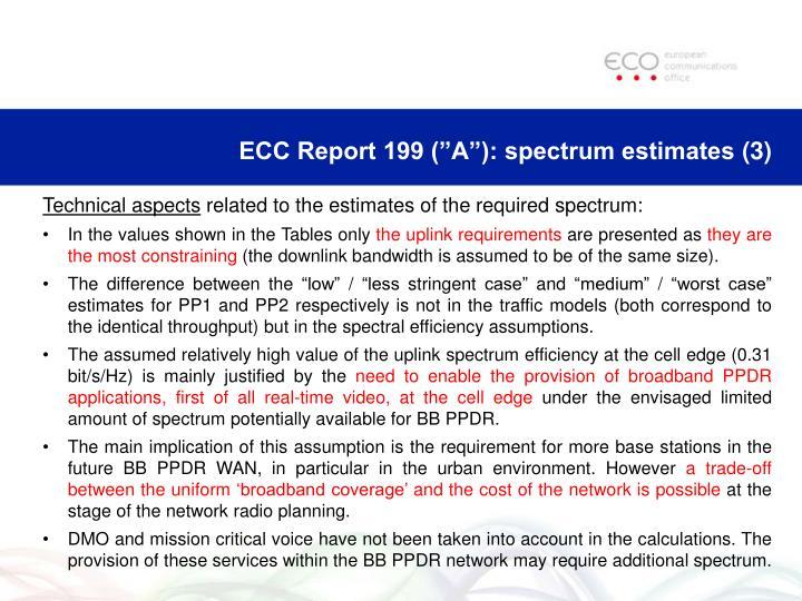 """ECC Report 199 (""""A""""): spectrum estimates"""