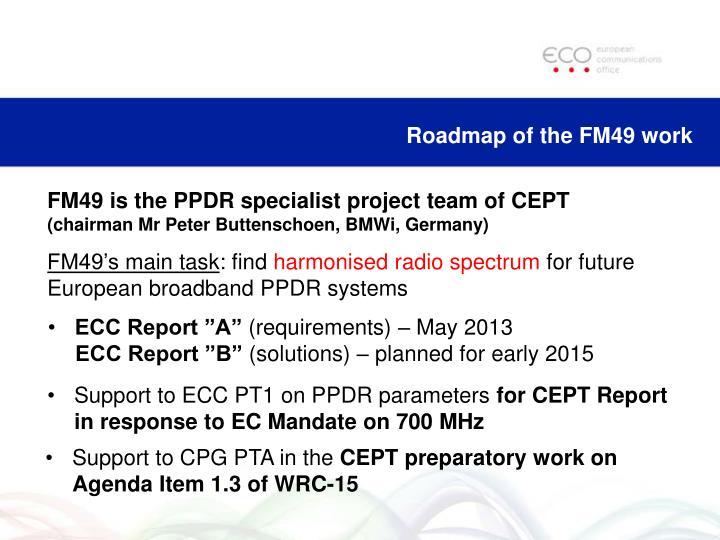 Roadmap of the FM49 work