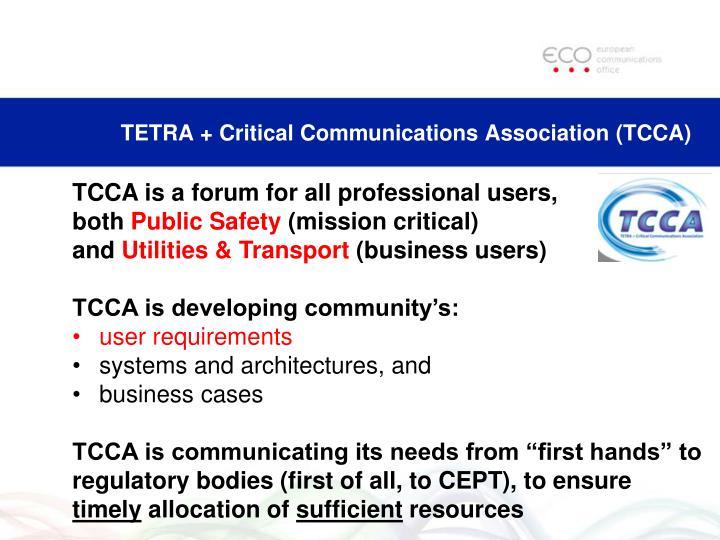 TETRA + Critical Communications Association (TCCA)
