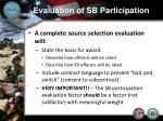 evaluation of sb participation13