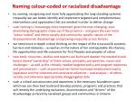 naming colour coded or racialized disadvantage