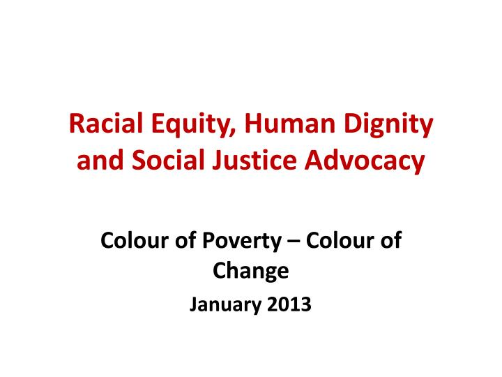 racial equity human dignity and social justice advocacy n.