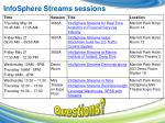 infosphere streams sessions
