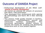 outcome of danida project
