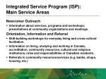 integrated service program isp main service areas