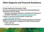 other supports and financial assistance