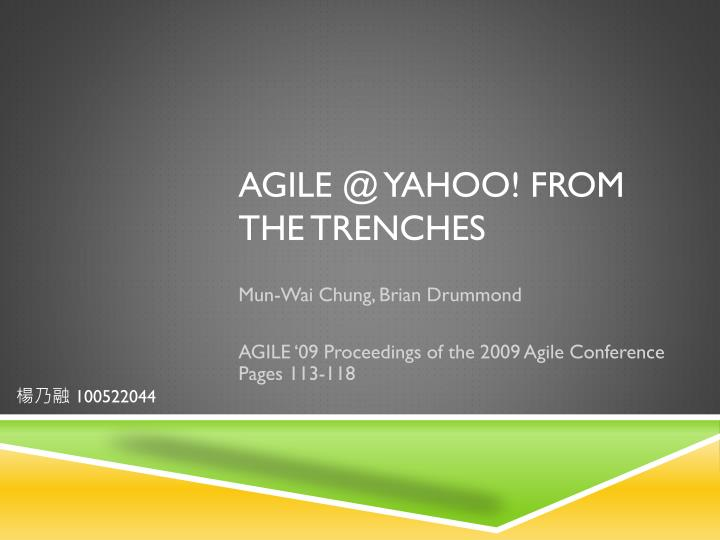 agile @ yahoo from the trenches n.