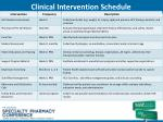clinical intervention schedule