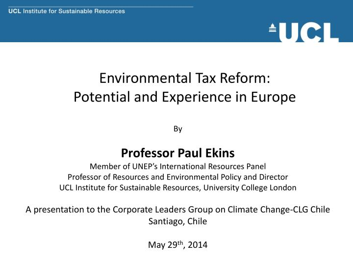 environmental tax reform potential and experience in europe n.