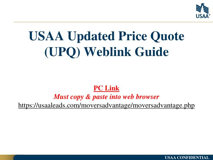 usaa updated price quote upq weblink guide n.