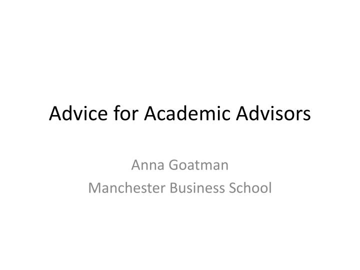 advice for academic advisors n.