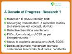 a decade of progress research