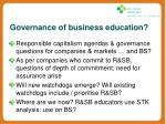 governance of business education