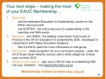 your next steps making the most of your eauc membership