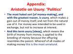 appendix aristotle on usury politics