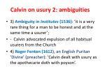 calvin on usury 2 ambiguities