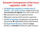 economic consequences of the usury legislation 1540 1713