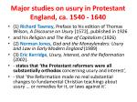 major studies on usury in protestant england ca 1540 1640