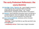 the early protestant reformers the usury doctrine