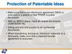 protection of patentable ideas