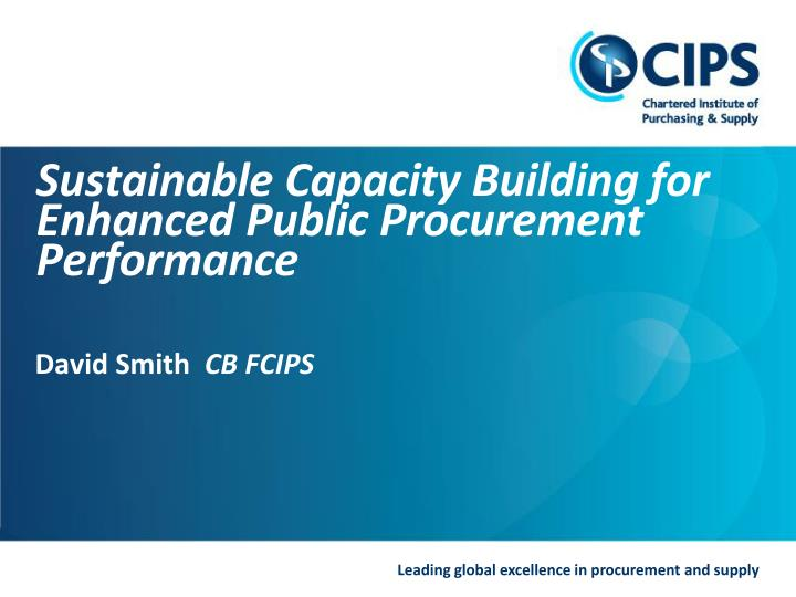 sustainable capacity building for enhanced public procurement performance n.