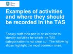 examples of activities and where they should be recorded in the tas