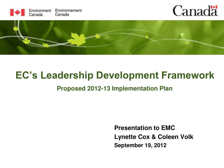 ec s leadership development framework proposed 2012 13 implementation plan n.
