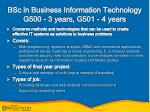 bsc in business information technology g500 3 years g501 4 years