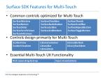 surface sdk features for multi touch