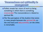 transcendence and spirituality in management