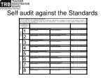 self audit against the standards