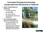 low impact development principles incorporated into ms4 permits in california