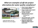 what are examples of off site project alternatives for water quality compliance