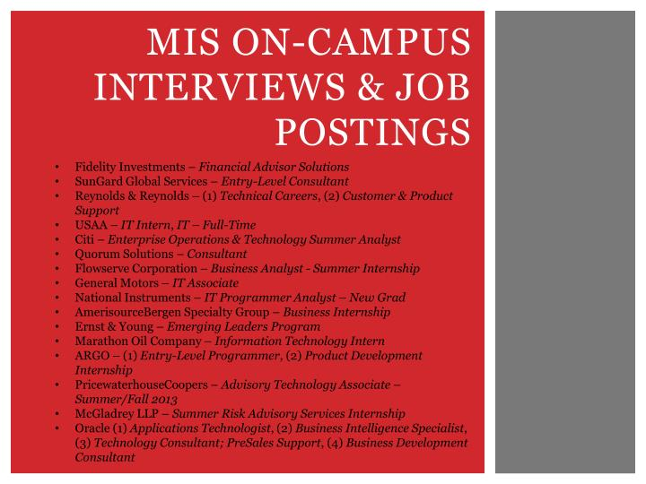mis on campus interviews job postings n.