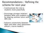 recommendations refining the scheme for next year1