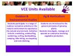 vce units available2