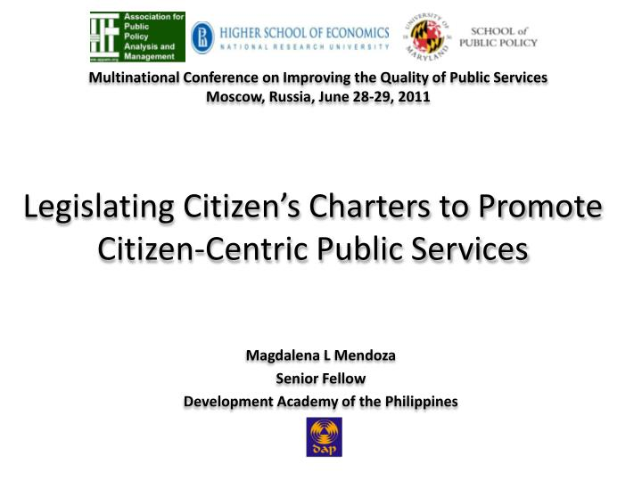 legislating citizen s charters to promote citizen centric public services n.
