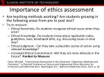 importance of ethics assessment