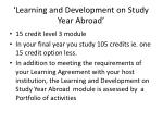 learning and development on study year abroad