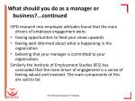 what should you do as a manager or business continued
