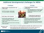 additional developmental challenges for mena