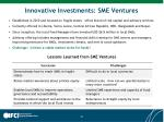 innovative investments sme ventures