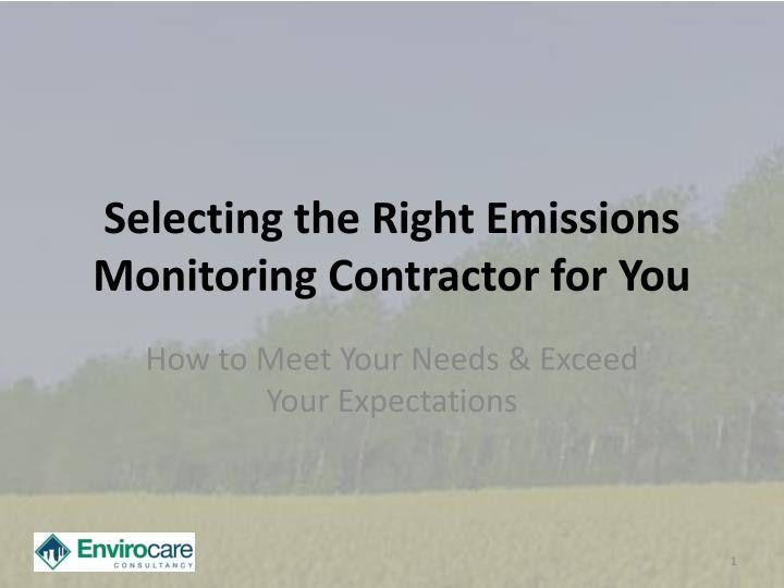 selecting the right emissions monitoring contractor for you n.