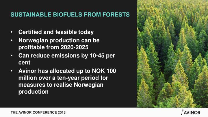SUSTAINABLE BIOFUELS FROM FORESTS