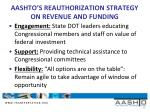 aashto s reauthorization strategy on revenue and funding