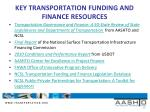 key transportation funding and finance resources