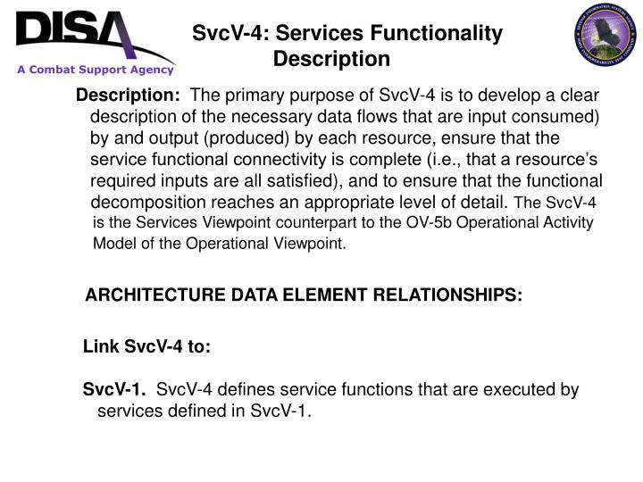 SvcV-4: Services Functionality